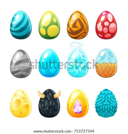 Vector cartoon style set of colorful eggs, isolated on white background. Game user interface (GUI) element for video games, computer or web design.