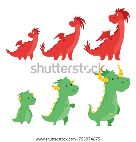 vector cartoon style set of
