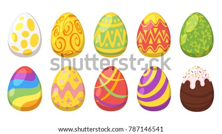 Vector  cartoon style set of Easter colorful  painted eggs.