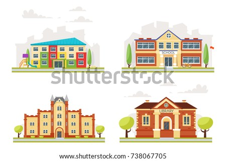 Vector cartoon style set of educational buildings: kindergarten, school, university, library, isolated on white background