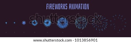 Vector cartoon style set of game blue fireworks explode effect burst sprites for animation. Game user interface (GUI) element for video games, computer or web design. Explosion frames. stock photo