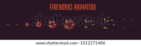 Vector cartoon style set of game red fireworks explode effect burst sprites for animation. Game user interface (GUI) element for video games, computer or web design. Explosion frames.