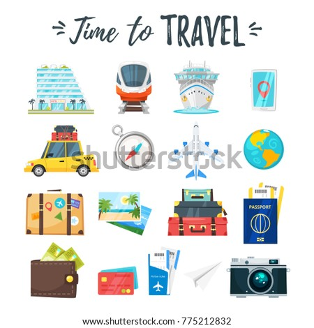 Vector cartoon style set of travel and tourism icons.