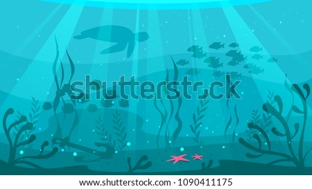 Vector cartoon style underwater background with sea flora and fauna. Coral reef, sea plants and fishes silhouettes.