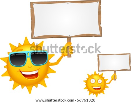 Vector Cartoon Sun Characters with Signboard