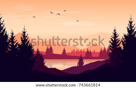 vector cartoon sunset landscape