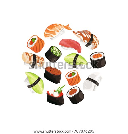 Vector cartoon sushi types circle concept illustration. Japanese food and asian cuisine, roll and seafood sushi