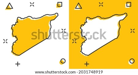Vector cartoon Syria map icon in comic style. Syria sign illustration pictogram. Cartography map business splash effect concept. Stockfoto ©