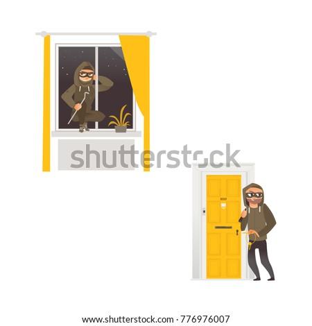 vector cartoon thief burglar