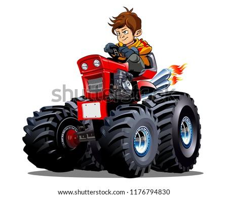 vector cartoon tractor with