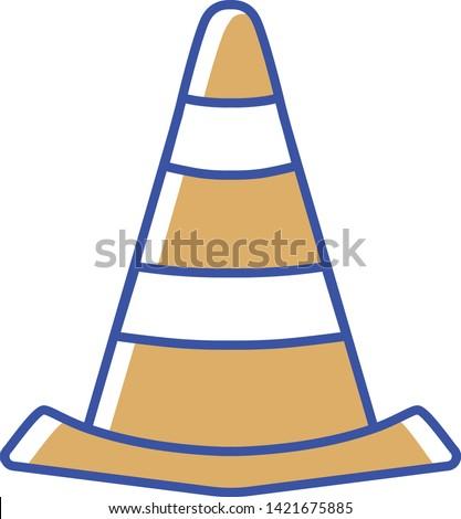 Vector Cartoon Traffic Cone Icon Illustration Isolated