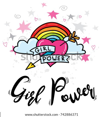 """Vector cartoon trendy hipster print design illustration of arrowed heart with rainbow stars and """"Girl Power"""" feminism sign. Poster, t-shirt or card design template concept"""