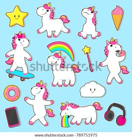 vector cartoon unicorns  magic