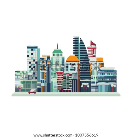 vector cartoon urban landscape