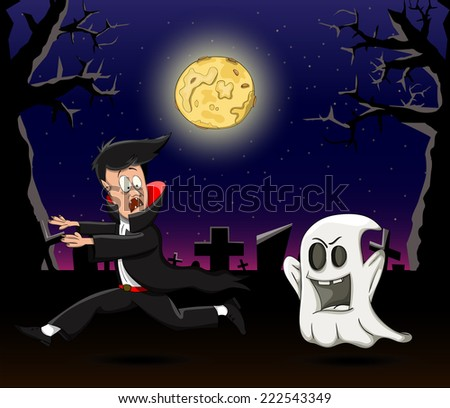 vector cartoon vampire running