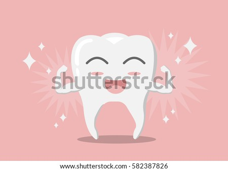 vector cartoon whitening tooth muscle strain for show solidity tooth with shining effect and the happy face.