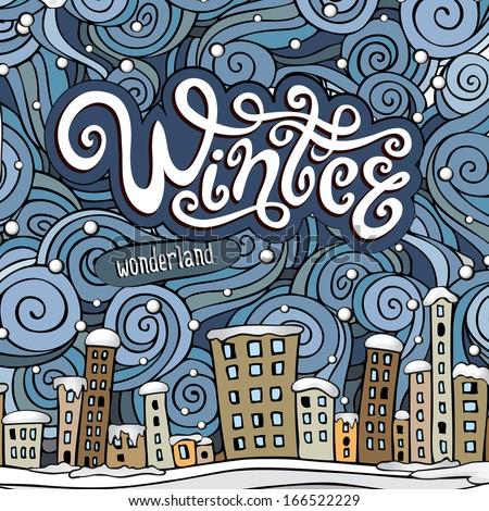 Vector cartoon winter fairytale town greeting card