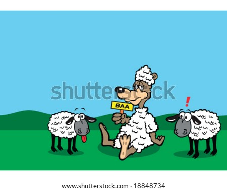 stock-vector-vector-cartoon-wolf-in-sheep-s-clothing-with-sheep-outside-18848734.jpg