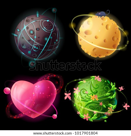 Vector cartoon worlds planetary collection. Fantastic, cosmic, alien space elements for game design. Extraterrestrial, cheese, love, plants planets illustration. Galaxies set, concept for gui, ui