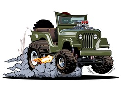 Vector Cartoon 4x4 car hot rod isolated on white background. Available EPS-10 separated by groups and layers with transparency effects for one-click repaint