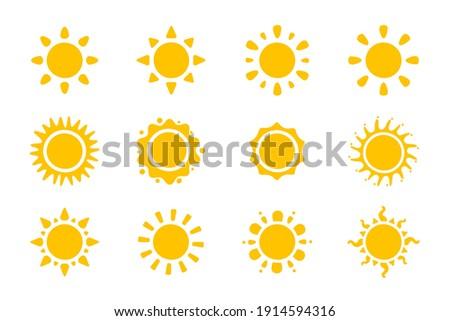 Vector cartoon yellow sun Shining light rays to heat the summer. Isolated on white background.