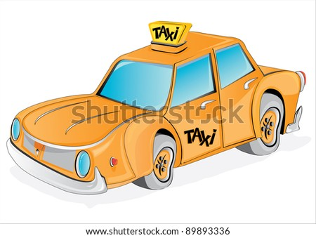 Vector cartoon yellow taxi car on white. Very detailed illustration.