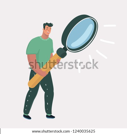 Vector cartooon illustration of man with big magnifying glass. Search for information and investigation, data analysis and research, investigation concept. Isolated on white background.