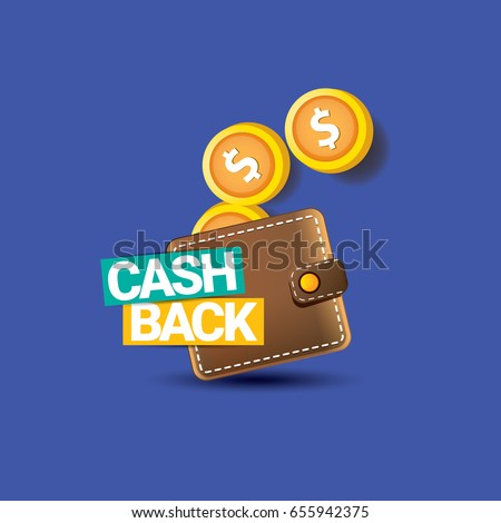 vector cash back icon with coins and wallet isolated on blue background. cashback or money refund label