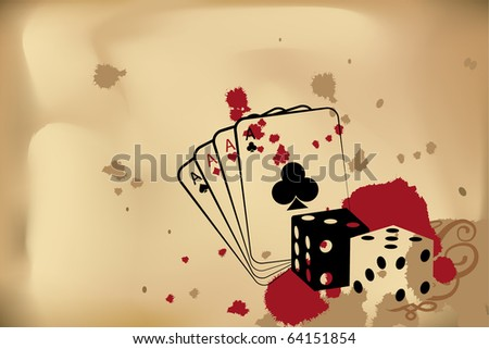 Vector casino background (dice and playind cards)