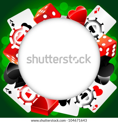 Vector casino background with cardes, dices and roulette