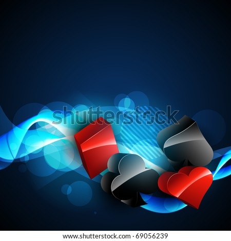 vector casino card elements 3d design in blue background