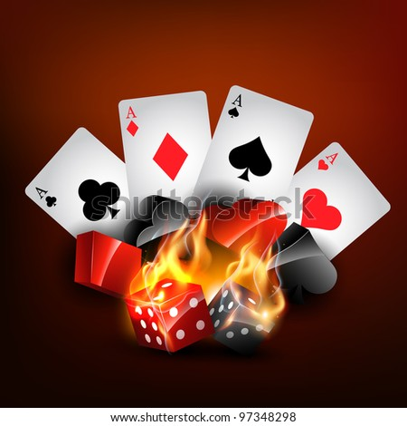 vector casino playing card in burning style