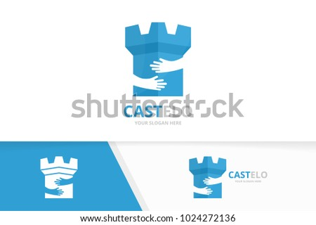 vector castle and hands logo