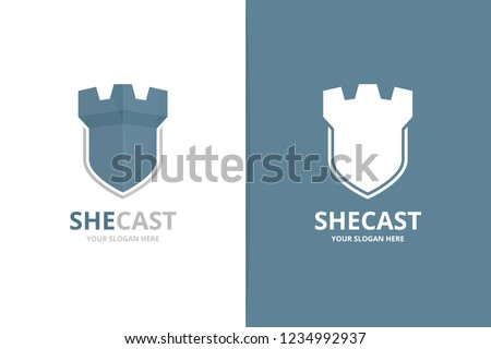 vector castle and shield logo
