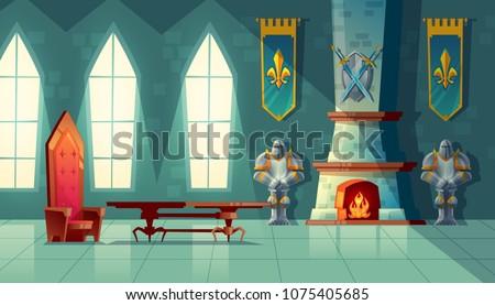vector castle hall  interior of