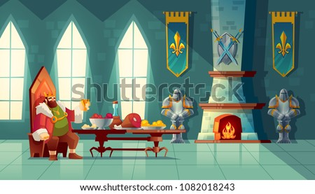 Vector castle hall with king eats lunch. Feast table with food, banquet party. Interior of royal ballroom with throne for luxury banket. Cartoon furniture in medieval palace