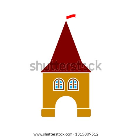 vector castle icon - castle tower symbol isolated, ancient building illustration - Vector history landmark