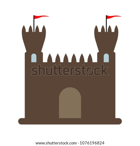 vector castle illustration isolated - historical architecture building - ancient symbol