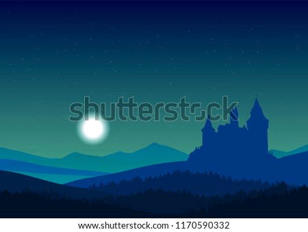 vector castle in the mountains