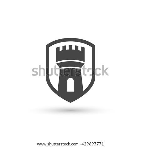 Vector castle tower shield icon Сток-фото ©