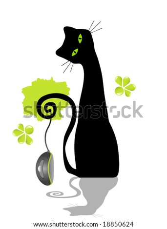 Vector Cat and Mouse - stock vector