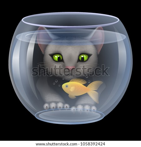 vector cat hunting fish in the