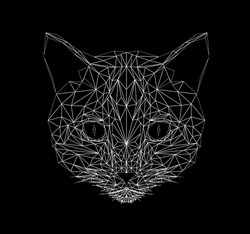 Vector cat thin line style. Cat low poly design illustration. Abstract mammal animal. Geometric polygonal silhouette. Icon illustration for tattoo, coloring, wallpaper and printing on t-shirts