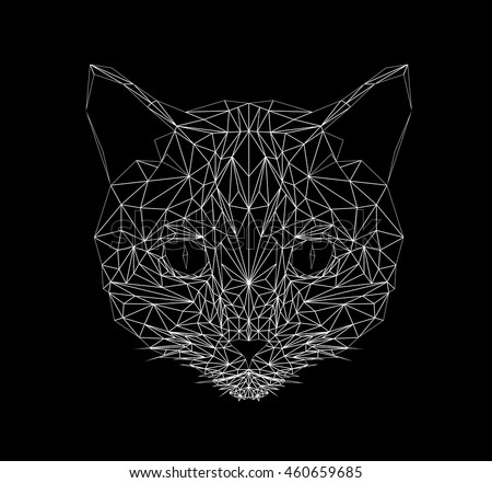 vector cat thin line style cat