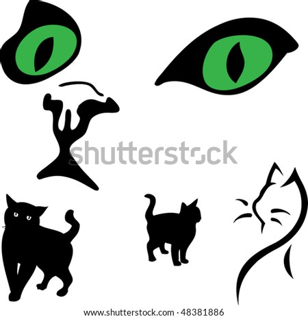 cat's eye. clipart. collage
