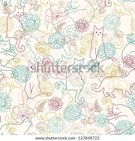 vector cats among flowers