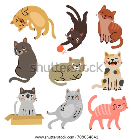 vector cats set characters