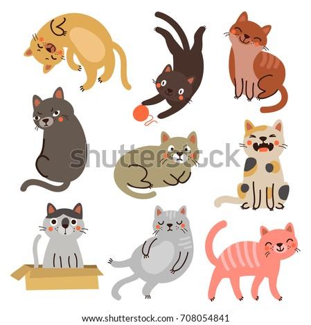 vector cats set characters