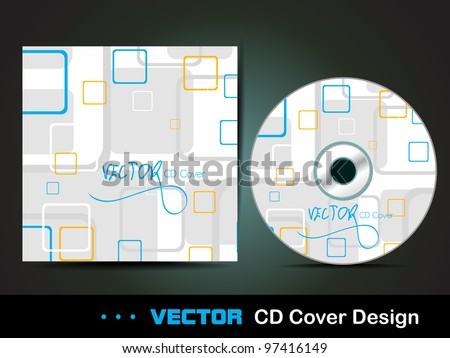 Vector CD cover design with colorful square in light blue color abstract on white background, eps 10 vector illustration.