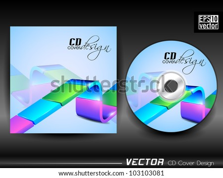Vector CD cover in bright blue color with 3D colorful abstract line and space for your text. EPS 10. Vector illustration.